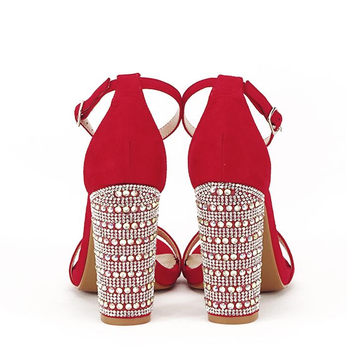Sandale rosii cu pietricele pe toc Cleopatra [6]
