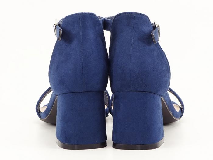 Sandale bleumarin din velur cu toc mic Marcela 2