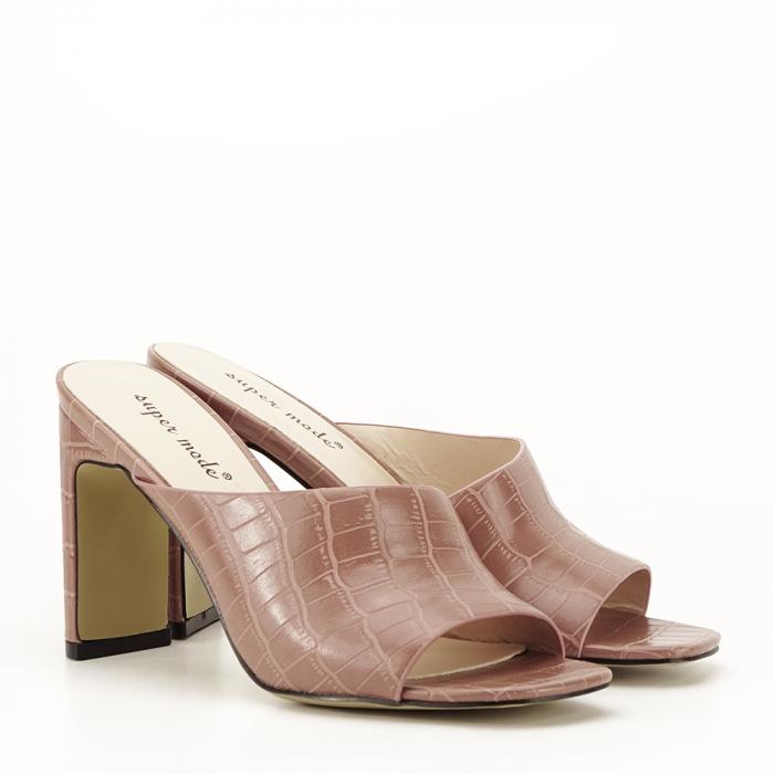 Sandale cu toc roz plamaniu Eva 6