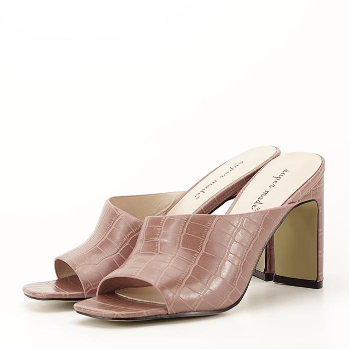 Sandale cu toc roz plamaniu Eva 1