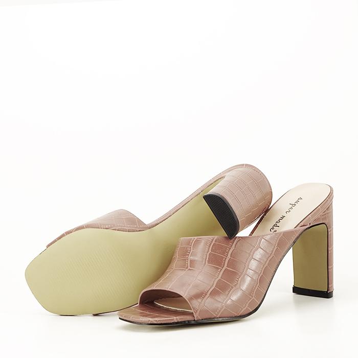 Sandale cu toc roz plamaniu Eva 5