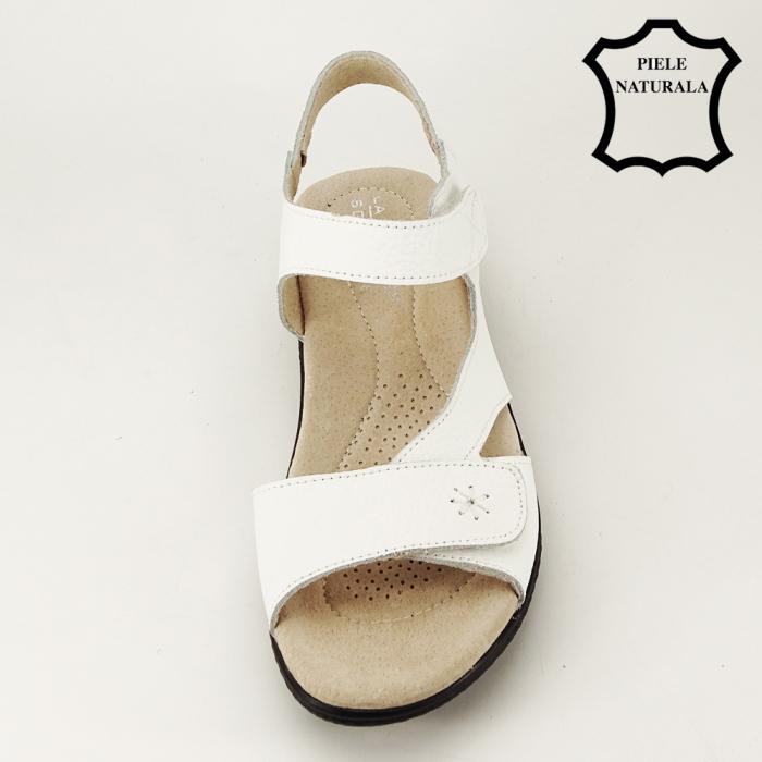Sandale albe din piele naturala Sara 6