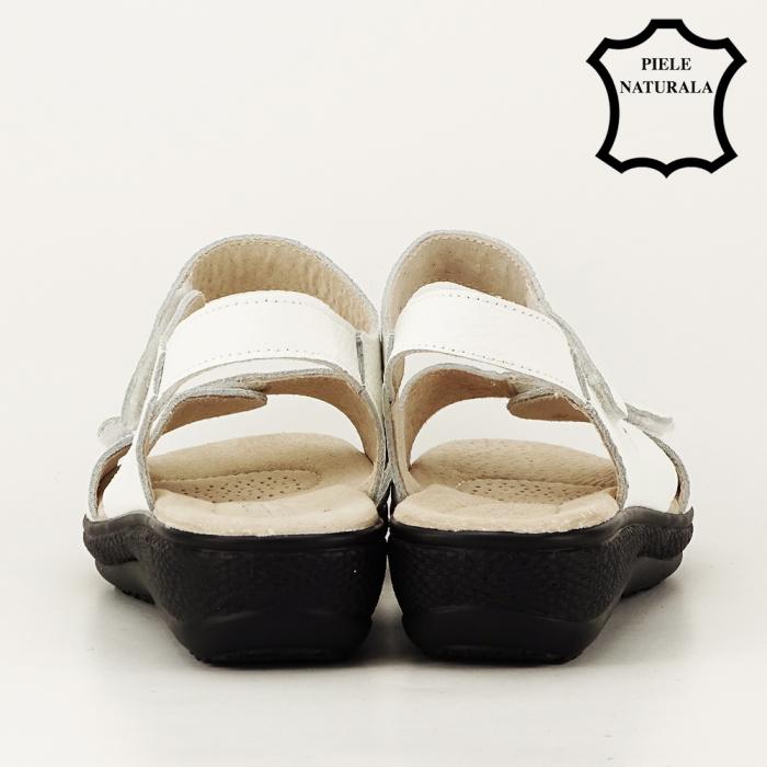 Sandale albe din piele naturala Sara 3