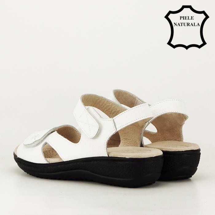 Sandale albe din piele naturala Sara 2