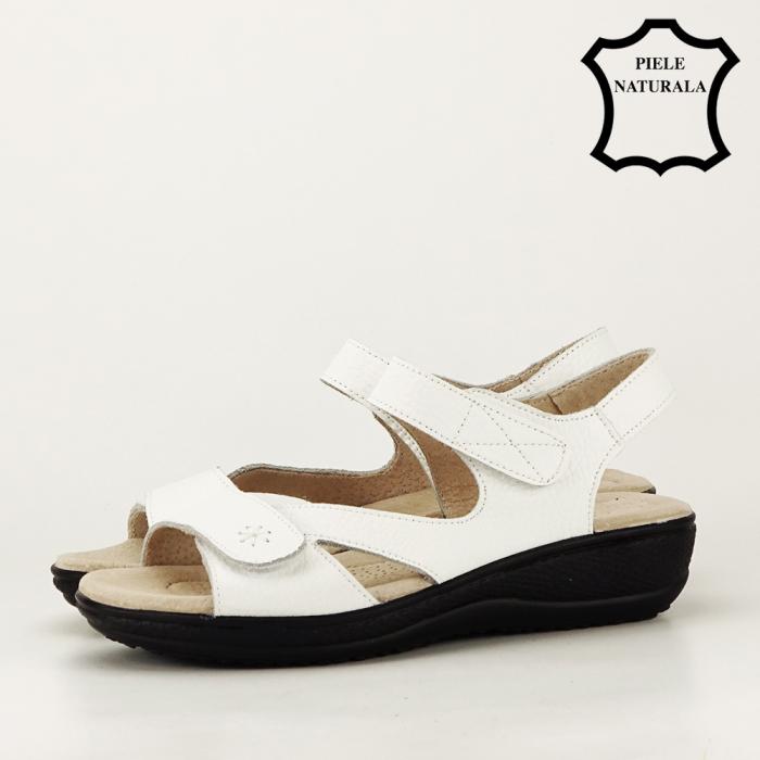 Sandale albe din piele naturala Sara 4