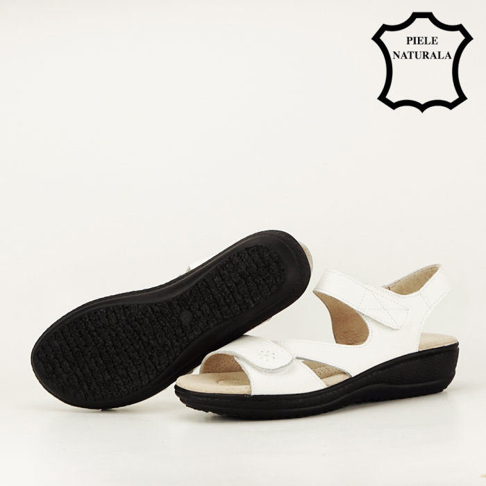 Sandale albe din piele naturala Sara 7