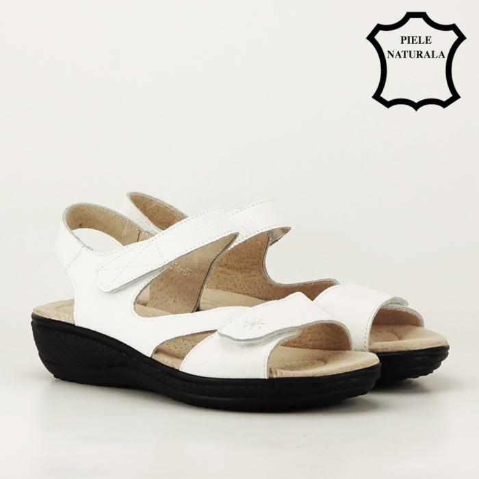 Sandale albe din piele naturala Sara 5
