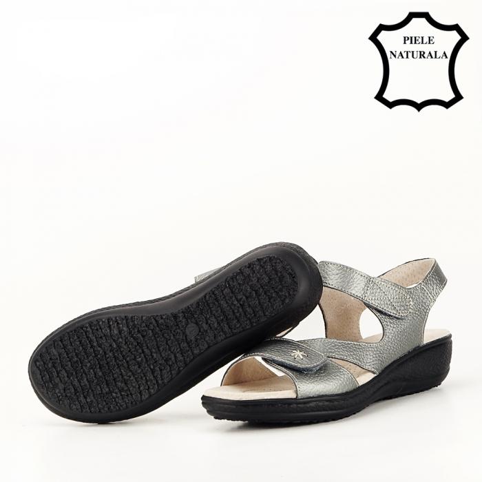 Sandale gri metalizat din piele naturala Sara [5]