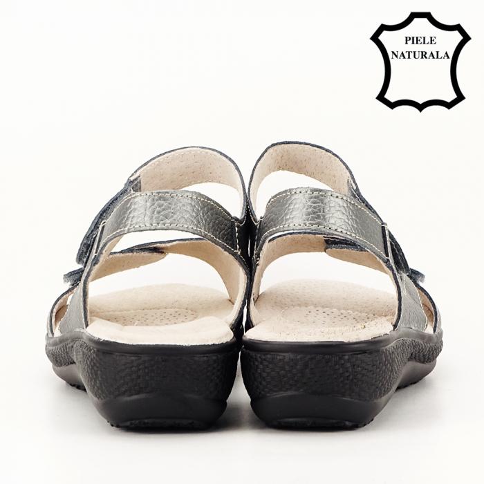 Sandale gri metalizat din piele naturala Sara [4]