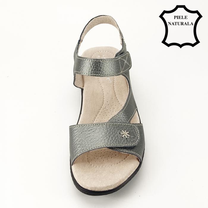 Sandale gri metalizat din piele naturala Sara [1]