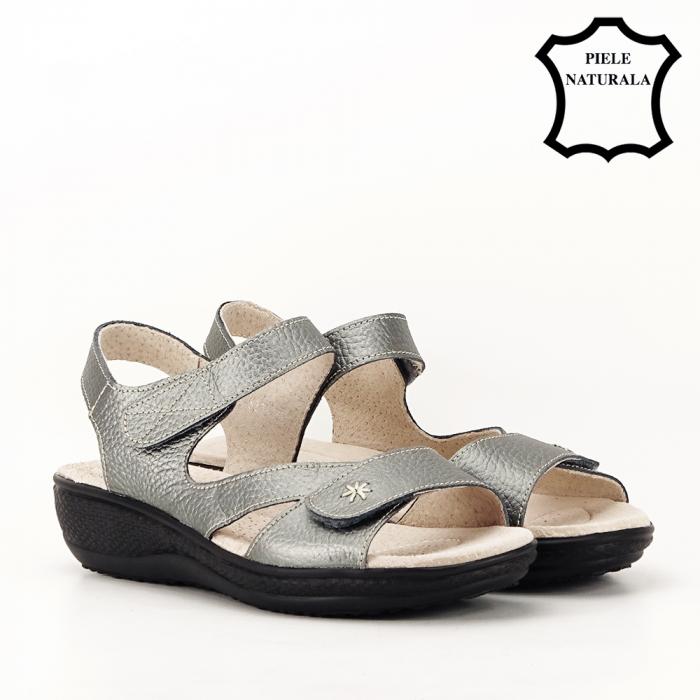 Sandale gri metalizat din piele naturala Sara [2]