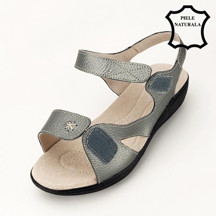 Sandale gri metalizat din piele naturala Sara [6]