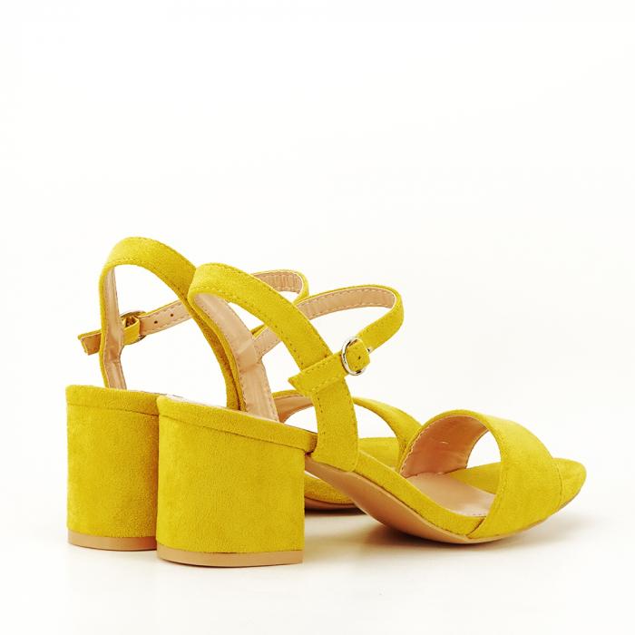 Sandale galben mustar cu toc mic Vanesa [2]