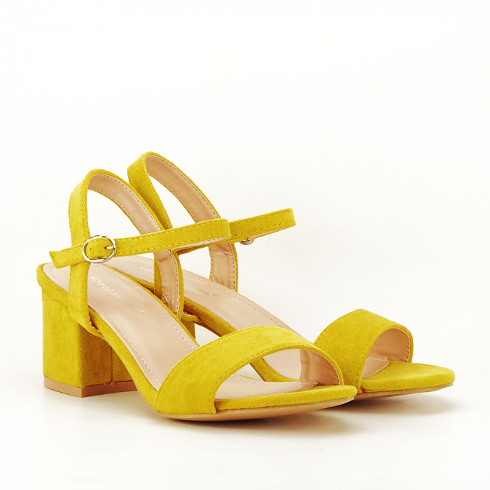 Sandale galben mustar cu toc mic Vanesa [6]