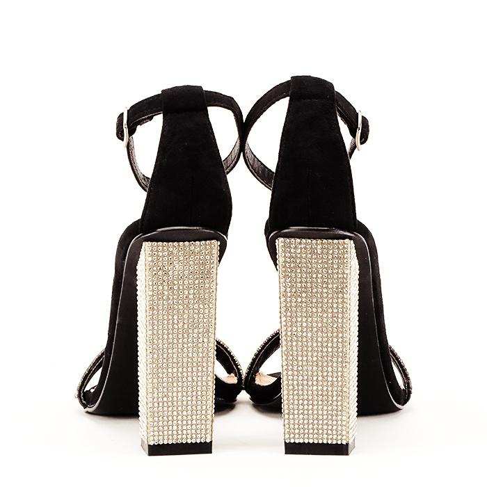 Sandale negre cu pietricele Agness 6