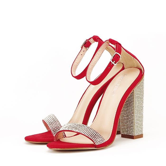 Sandale rosii cu pietricele Agness 1