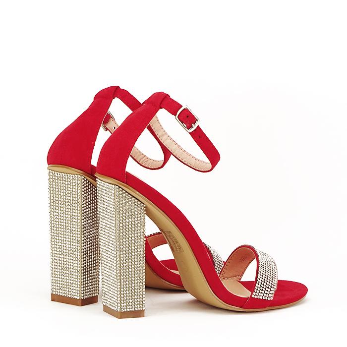 Sandale rosii cu pietricele Agness 3