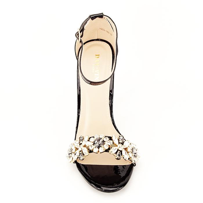 Sandale negre decorate cu pietre Gloria [5]