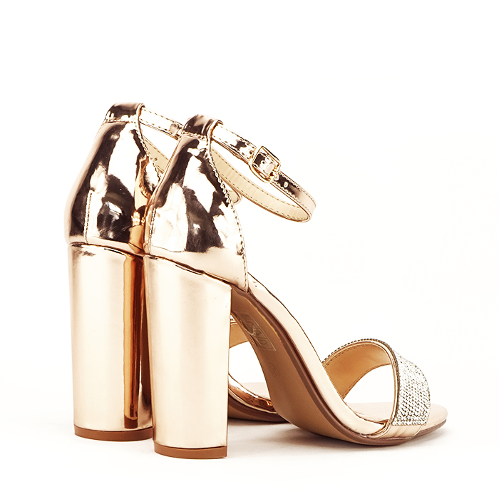Sandale aurii cu toc gros Diana [4]