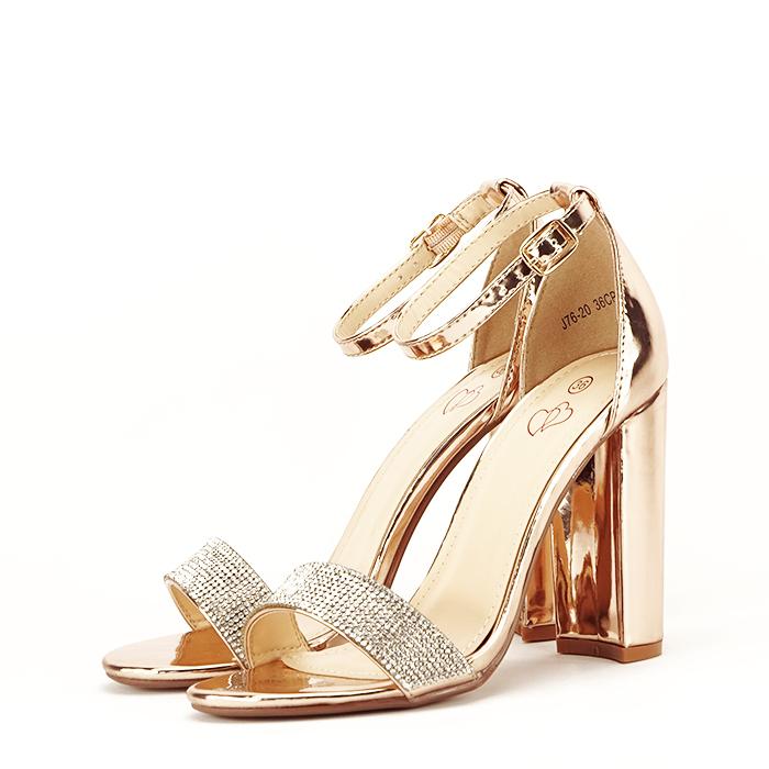 Sandale aurii cu toc gros Diana [1]
