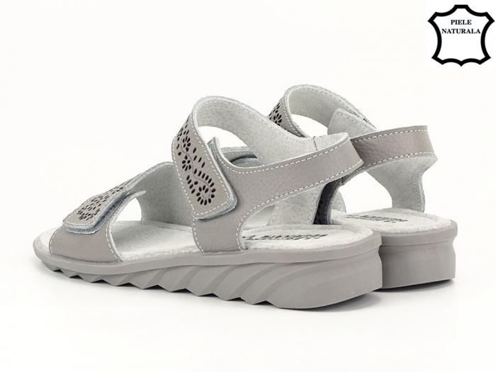 Sandale gri din piele naturala Freda 5