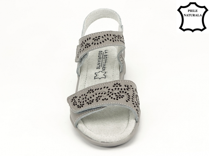 Sandale gri din piele naturala Freda 3
