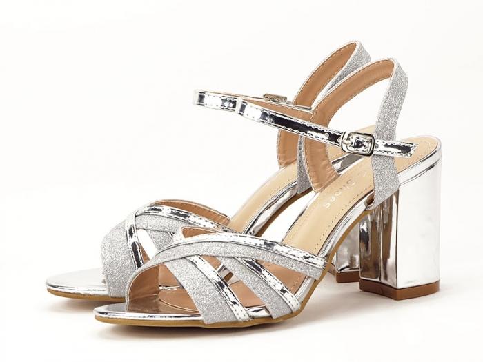 Sandale argintii cu toc mediu Aniela 7