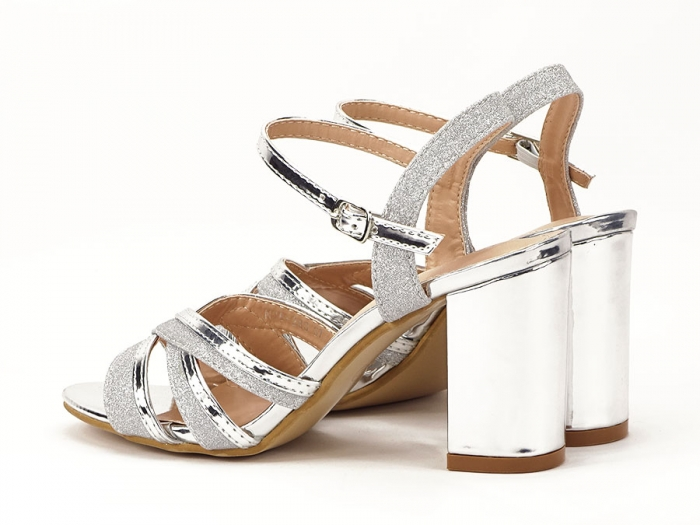Sandale argintii cu toc mediu Aniela 6