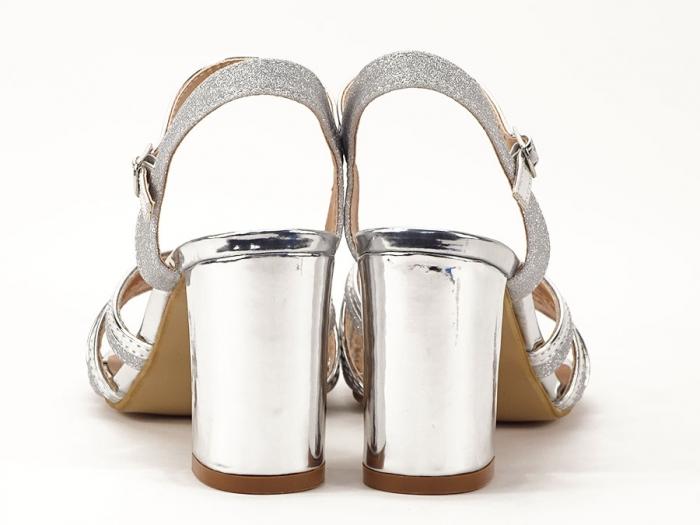 Sandale argintii cu toc mediu Aniela 3