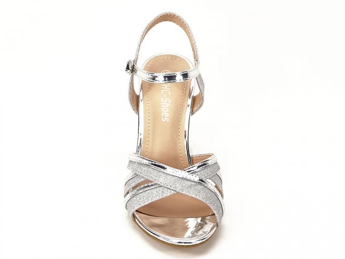 Sandale argintii cu toc mediu Aniela 4