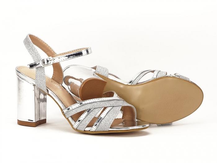 Sandale argintii cu toc mediu Aniela 5