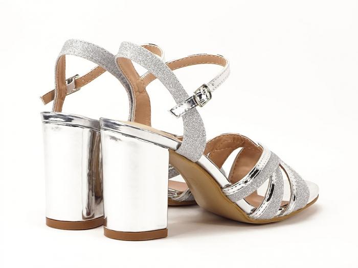Sandale argintii cu toc mediu Aniela 2