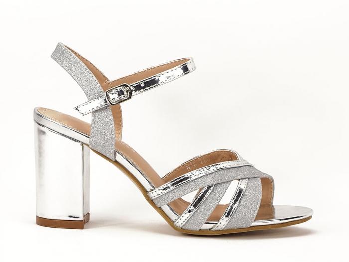 Sandale argintii cu toc mediu Aniela 0