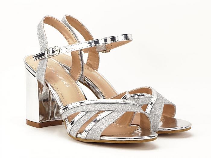Sandale argintii cu toc mediu Aniela 1
