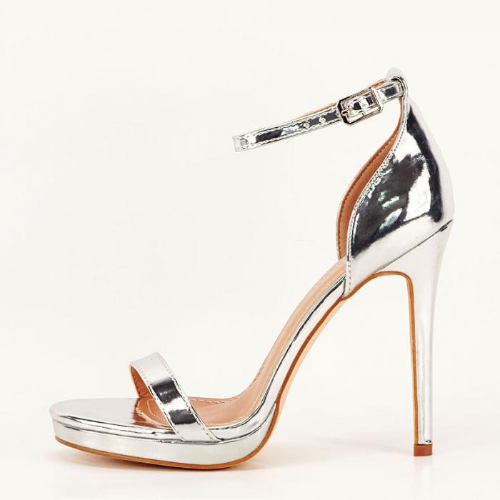 Sandale elegante argintii cu toc inalt Dorothy 0