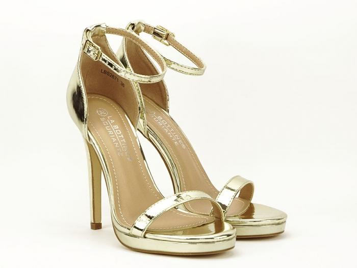Sandale elegante aurii cu toc inalt Dorothy 1