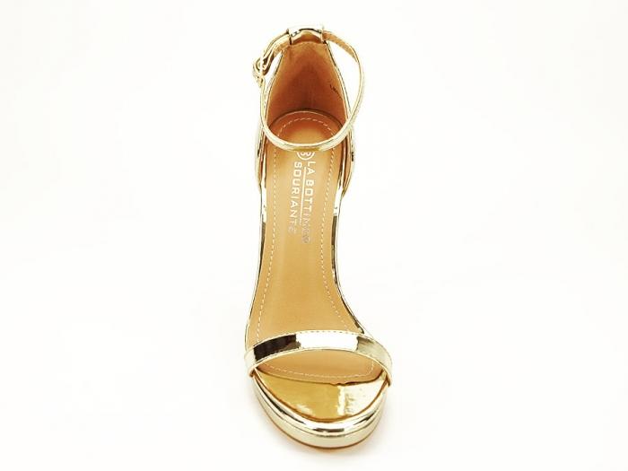 Sandale elegante aurii cu toc inalt Dorothy 7