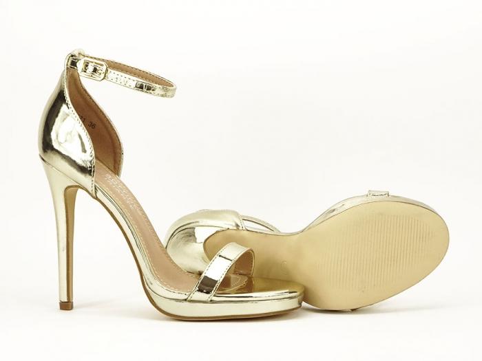 Sandale elegante aurii cu toc inalt Dorothy 2