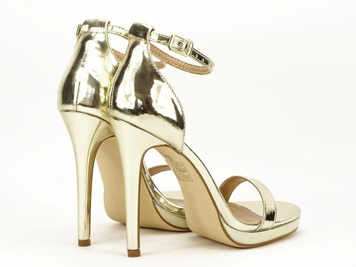 Sandale elegante aurii cu toc inalt Dorothy 5
