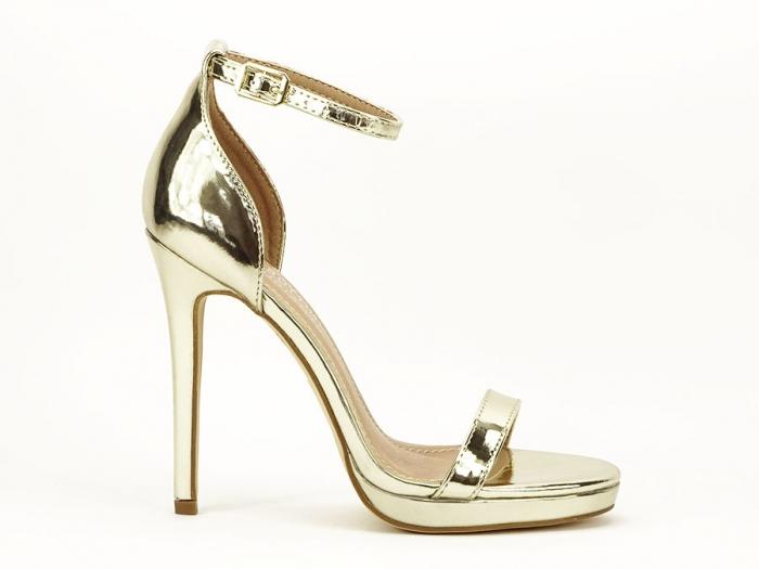 Sandale elegante aurii cu toc inalt Dorothy 8