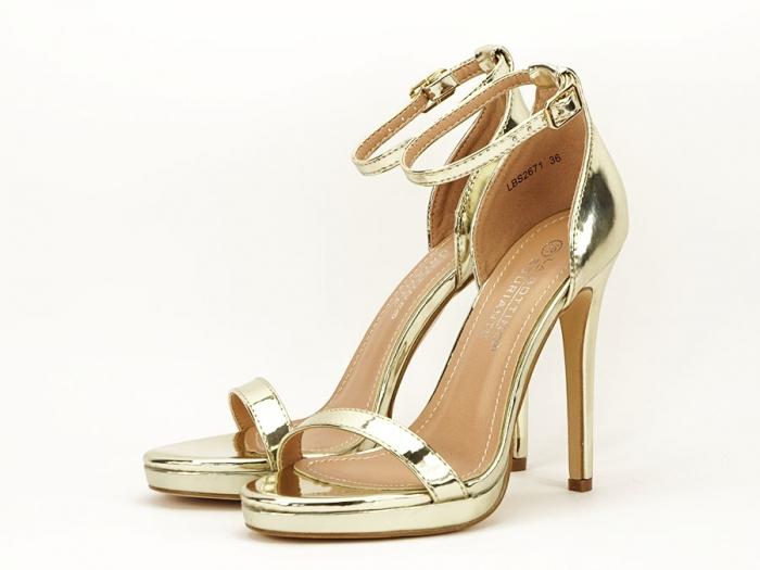 Sandale elegante aurii cu toc inalt Dorothy 6