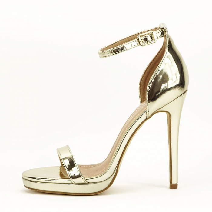 Sandale elegante aurii cu toc inalt Dorothy 0