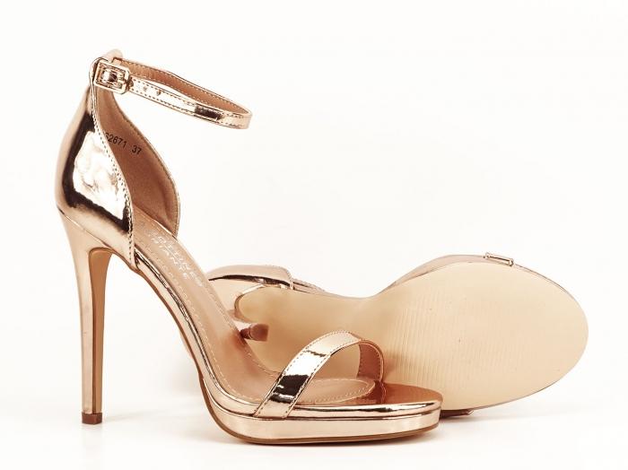 Sandale elegante champagne cu toc inalt Dorothy 3