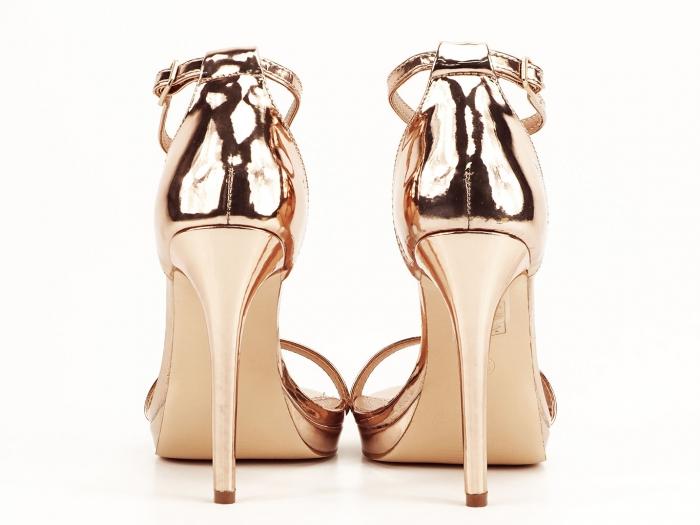 Sandale elegante champagne cu toc inalt Dorothy 2