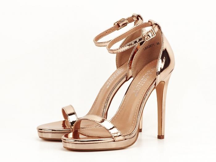 Sandale elegante champagne cu toc inalt Dorothy 5