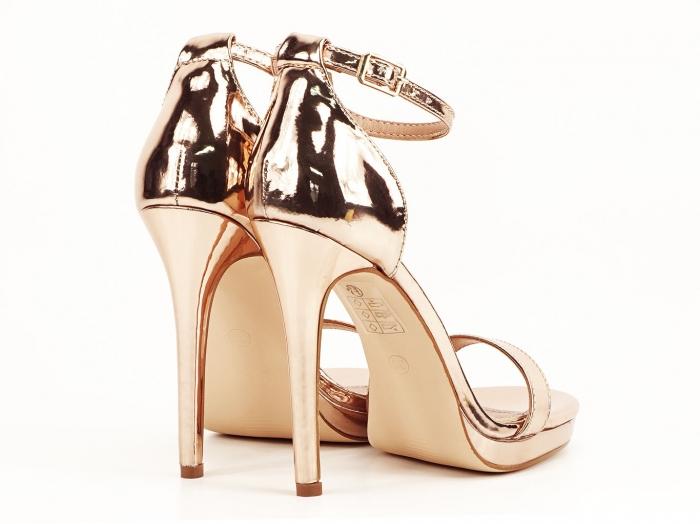 Sandale elegante champagne cu toc inalt Dorothy 7