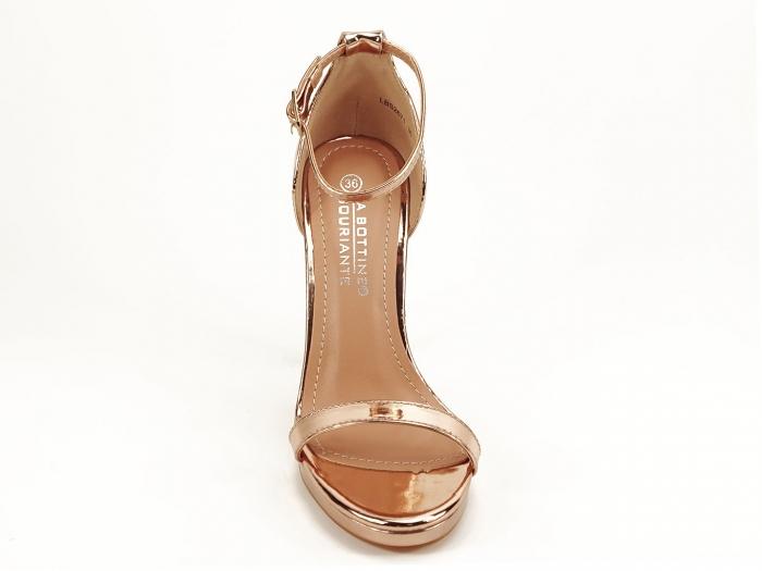Sandale elegante champagne cu toc inalt Dorothy 6