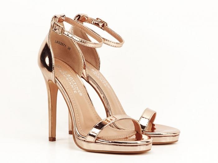 Sandale elegante champagne cu toc inalt Dorothy 1