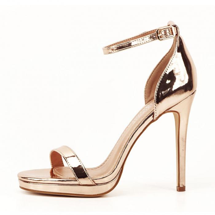 Sandale elegante champagne cu toc inalt Dorothy 0