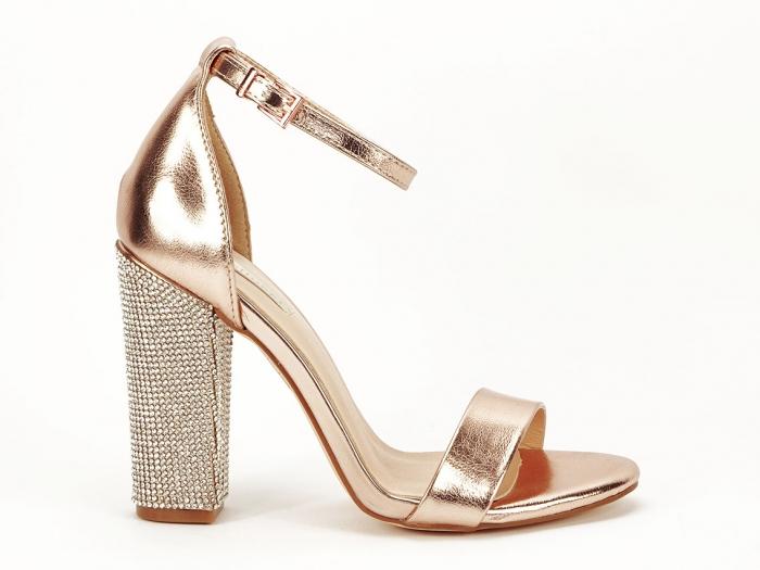Sandale elegante champagne cu pietricele pe toc Afrodita 0